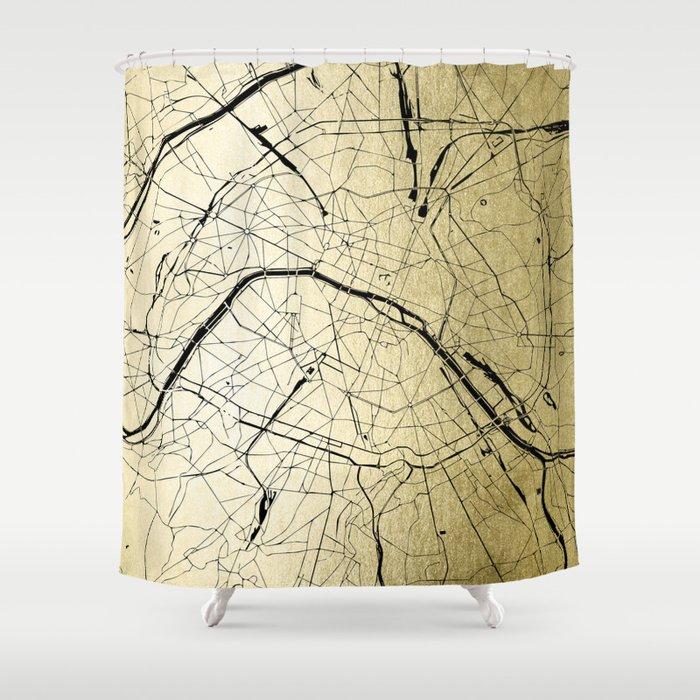 paris france minimal street map gold on black shower curtain