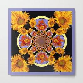 Black-Purple Geometric Sunflower Patterned Art  Metal Print