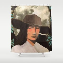 Portrait of A Southwestern Traveler with The Moon & Geometric Shapes In The Background Shower Curtain