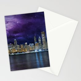 Spacey Chicago Skyline Stationery Cards