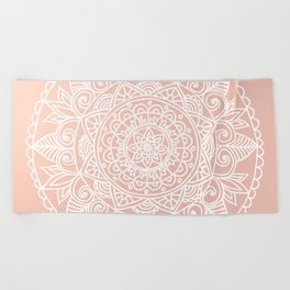 White Mandala on Rose Gold Beach Towel