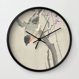 Bird Sitting on a Blossomed Peach Tree - Vintage Japanese Woodblock Print Art Wall Clock