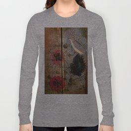 wood grain vintage bird french scripts poppy flower botanical art Long Sleeve T-shirt