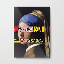 Vermeer's Girl with a Pearl Earring & Lichtenstein's Girl with a Hair Ribbon Metal Print