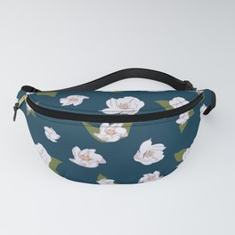 Vector floral seamless pattern, delicate rose flowers and twigs with leaves. Blue background Fanny Pack