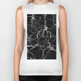 Black Marble with White Veining Biker Tank