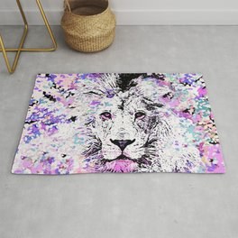 LION PINK and WHITE Rug