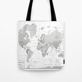 World Map [Black and White] Tote Bag