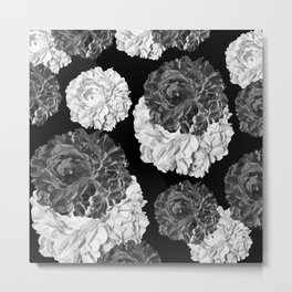 CABBAGE ROSES BLACK AND WHITE Metal Print