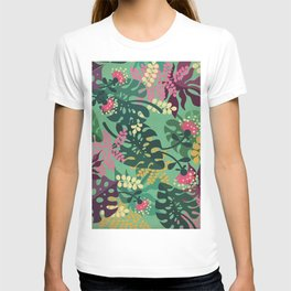 Purple Jungle Pattern - Kitschy Colorful Monstera and Palm Leaves T-shirt
