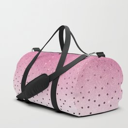 Black white polka dots pink glitter ombre Duffle Bag