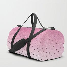Black white polka dots pink glitter ombre Duffle Bag