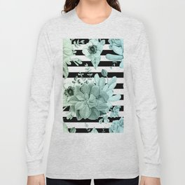 Simply Succulent Garden Striped in Turquoise Green Blue Gradient Long Sleeve T-shirt