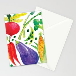 Veg Out - Vegetable, Veggies, Watercolor, Food, Beet, Carrot, Pea Stationery Cards