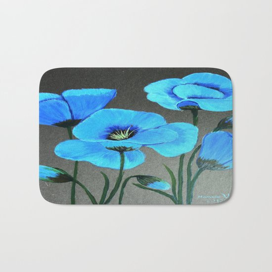 Blue poppies  Bath Mat