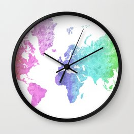 "Rainbow world map in watercolor style ""Jude"" Wall Clock"