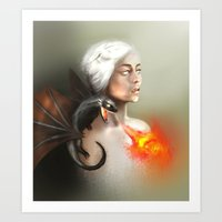 mother of dragons Art Prints featuring mother of dragons  by KazuneKoi