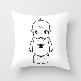 kewpie lineart Throw Pillow