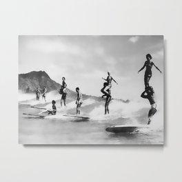 Vintage Surfing in Hawaii Metal Print
