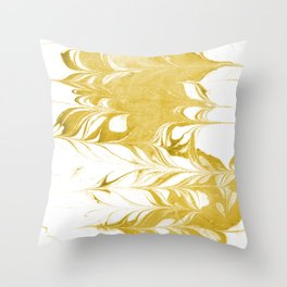 Suminagashi 3 gold and white marble spilled ink ocean swirl watercolor painting Throw Pillow