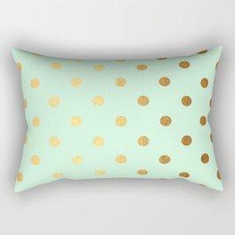 Gold polka dots on mint background - Luxury pattern Rectangular Pillow