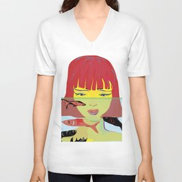 """Redhead Worry"" Paulette Lust's Original, Contemporary, Whimsical, Colorful Art Unisex V-Neck"