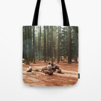 camp Tote Bags featuring Camp by Casey Afton Hess