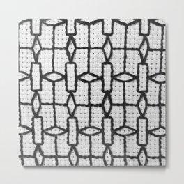 Vintage Window Grille Cross Stitch Pattern #4 Metal Print