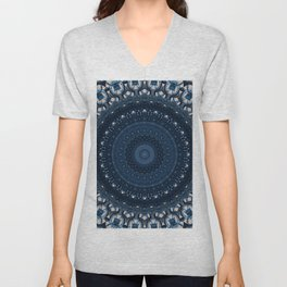 Mandala in light and dark blue tones Unisex V-Neck