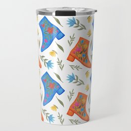 These boots are made for walking | Boots and botanicals pattern Travel Mug