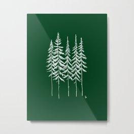 Five Trees (Green and White) Metal Print