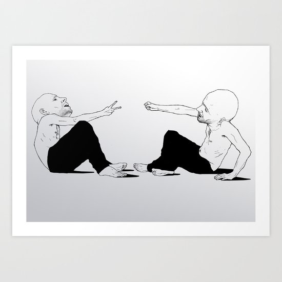 rock beats scissors Art Print