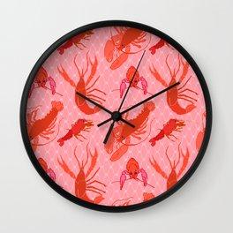 Catchin' Cajun Crawdads in Coral Wall Clock