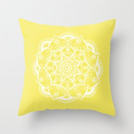 Mellow Yellow Flower Mandala Throw Pillow