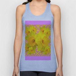Pink Color Gold Daffodils on Coral Abstract Unisex Tank Top