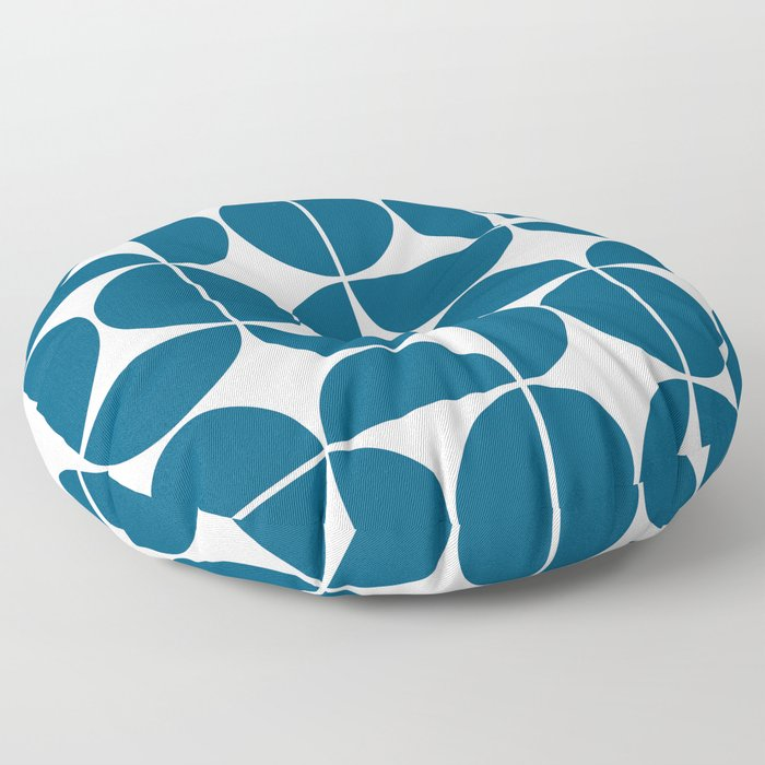 Mid Century Modern Geometric 04 Blue Floor Pillow