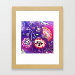 Purple Pink Butterfly Floral Garden Framed Art Print