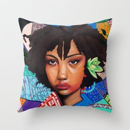 Patchwork of She Throw Pillow