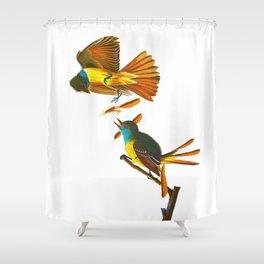 Great Crested Flycatcher John James Audubon Vintage Scientific Bird Illustration Shower Curtain