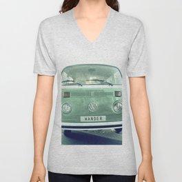 Vintage Wander van. Summer dreams. Green Unisex V-Neck