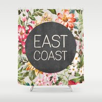 tupac Shower Curtains featuring East Coast by Text Guy