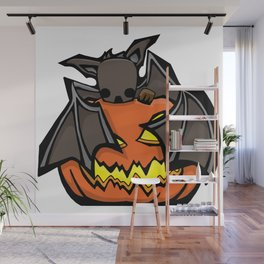 Bat and Jack O'Lantern | Halloween Series | DopeyArt Wall Mural