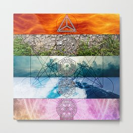 Platonic Solids with Metatron's Cube and Flower of Life Smooth Hexagon Metal Print