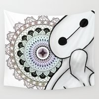 baymax Wall Tapestries featuring BAYMAX & COLOR by Greenteaelf