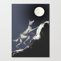moonrise Canvas Prints featuring Moonrise by Alexandra Sutherland