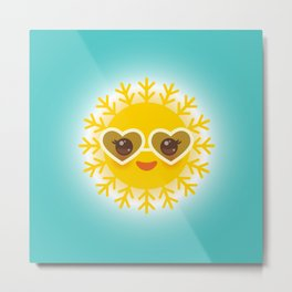 Kawaii funny sun with sunglasses pink cheeks and eyes. Hot summer day Metal Print