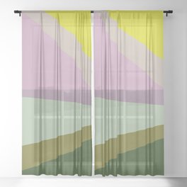 Geometric Shapes #8 Purple and Green Sheer Curtain