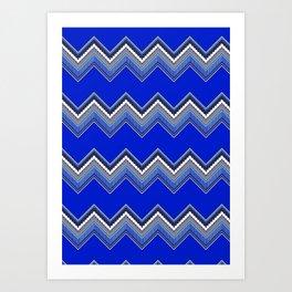 ZZIG A ZIGG AHH - Zig Zag, Blue, Fun, Bright, Repeat, Nursery Art Print