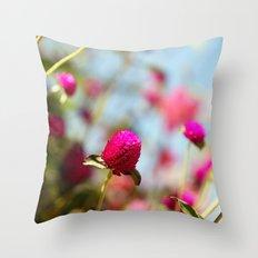 Hot Pink Puffs Throw Pillow