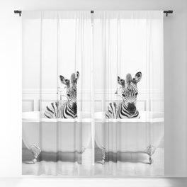 Zebra in a Bathtub, Black and White, Zebra Taking a Bath, Whimsy Animal Art Print By Synplus Blackout Curtain